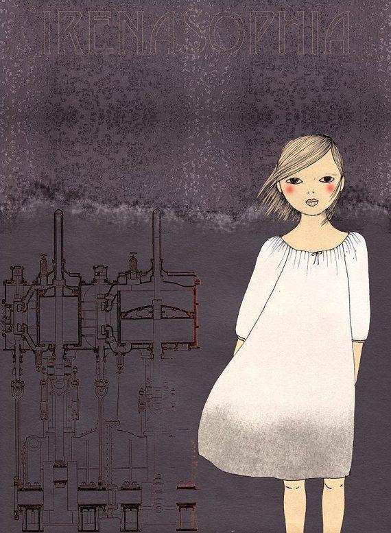 Steam Girl print of original drawing by IrenaSophia on Etsy