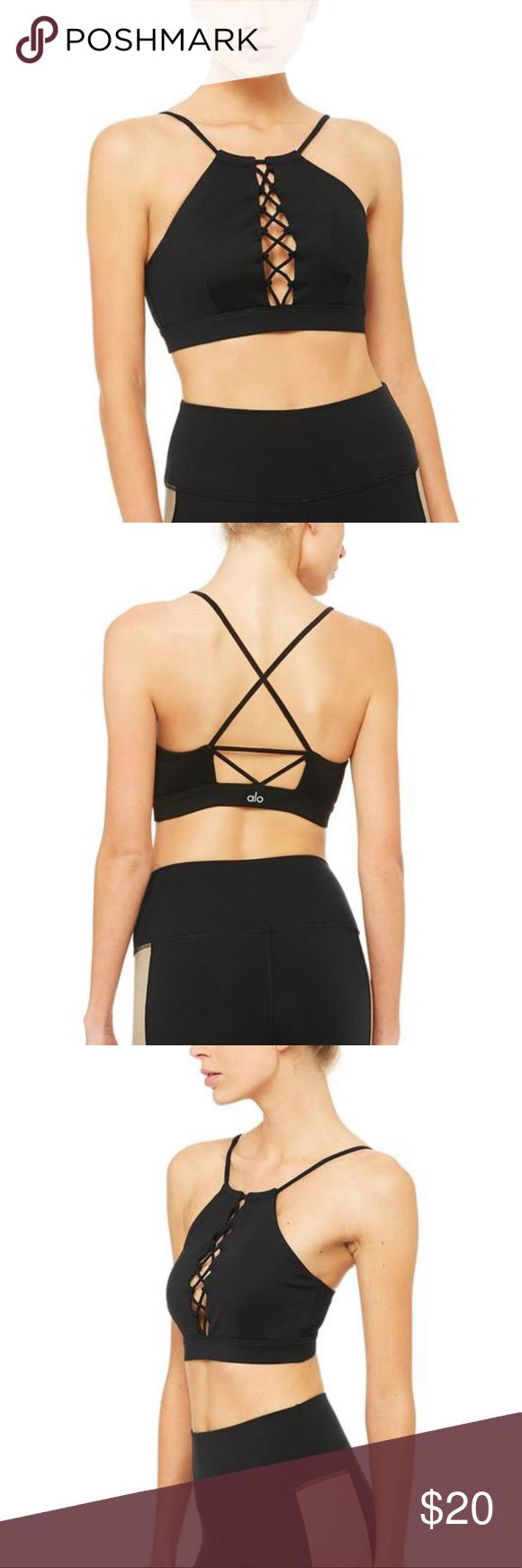 Alo Yoga Starlet Lace Sports Bra Lace front detail.  Sliding halter adjustment. …