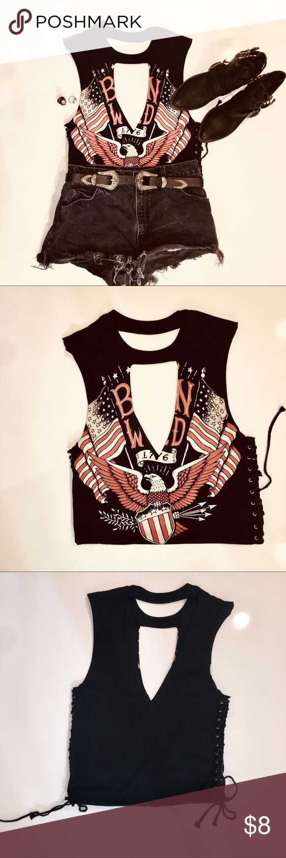 Sexy Rocker Chic Cutout Graphic Muscle Shirt Style a wild night out with your gals with this Born Wild Rocker Chic Tee. Featured with a cut out low neck line and symmetrical back cut out and a double sided lace up look. Forever 21 Tops Muscle Tees