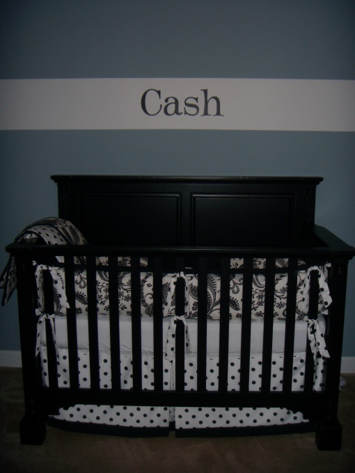 Nursery name: Baby Names, Paint Ideas, Boys Nurseries, Black And White, Cribs Beds, Colors Blue, Boy Nurseries, Painting Ideas, Nurseries Ideas