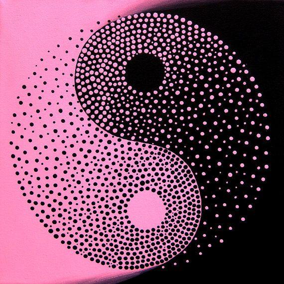 Yin Yang  Pink and Black  Original Modern by MatriXArtbyDV on Etsy, $59.00