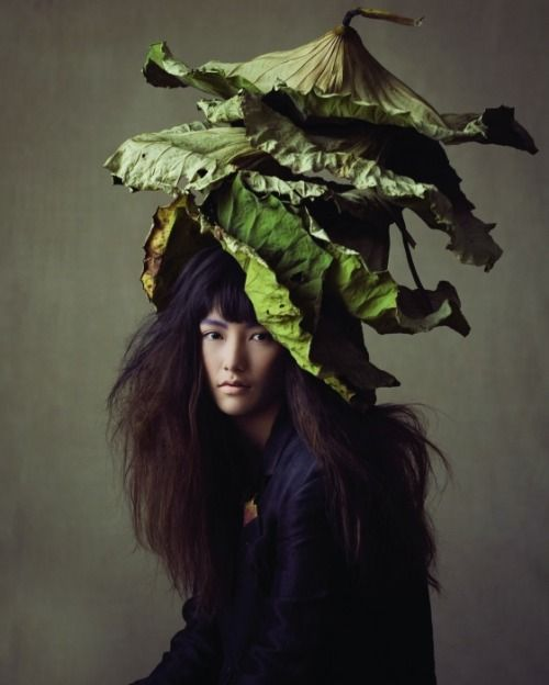 Avant Garde Design: Dried green leaves botanic hat |Vogue Girl Korea, April 2014.