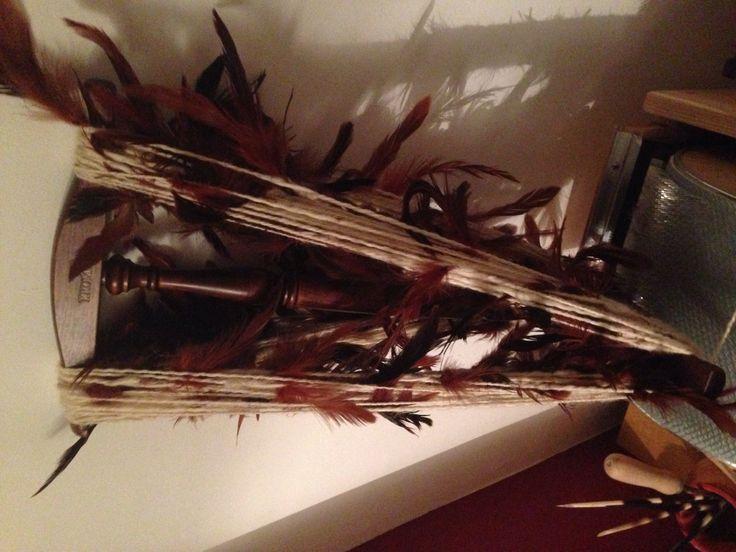 Ready to steam my feather yarn on the ole cromski niddynoddy