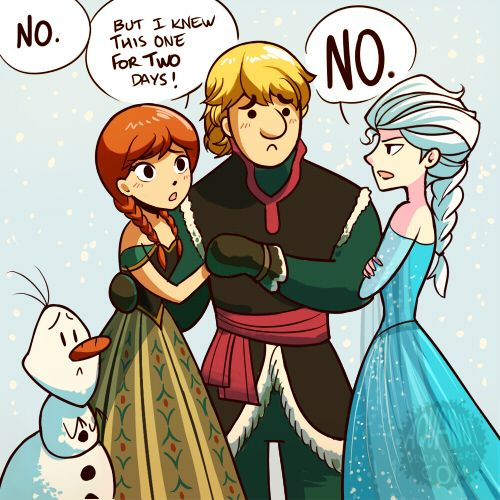 """""""Can't you see it's TRUE LOVE"""" - Anna, Kristoff, Elsa, and ..."""