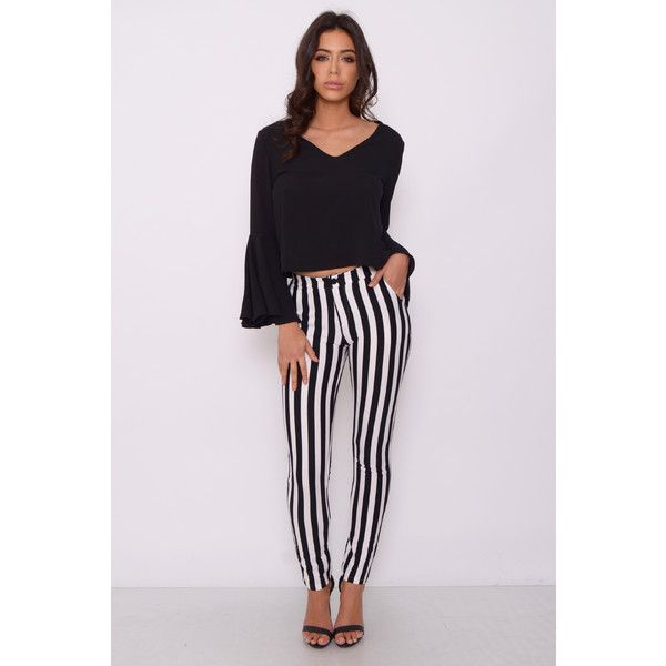 Rare Black and White Stripe Trousers featuring polyvore, women's fashion, clothing, pants, capris, slim pants, black and white stripe pants, cropped pants, slim trousers and black and white pants