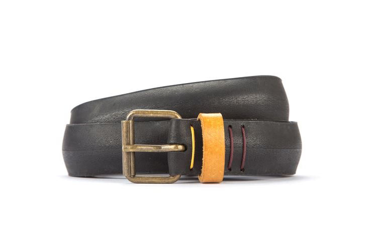 #2959 - Black belt from a spare race bicycle tyre, entirely handcrafted, iron branded and numbered. Yellow, leather belt loop. Strap folded up and stitched up with cotton colored strings.