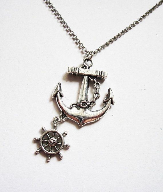anchor necklace nautical jewelry sea necklace by RobertaValle