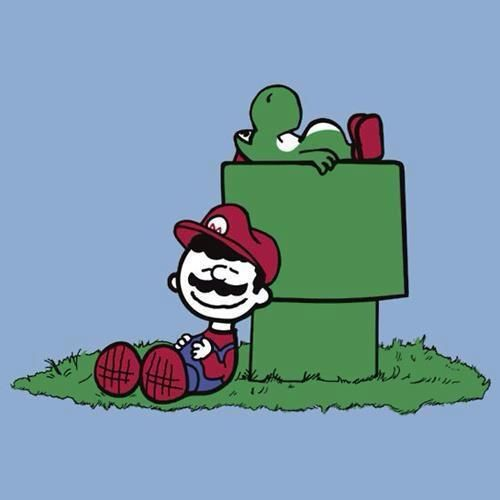 """Charlie Brown e Snoopy"" como Mario Bros e Yoshipor Jeffrey Allen https://www.facebook.com/JeffreyAllenDesigns"