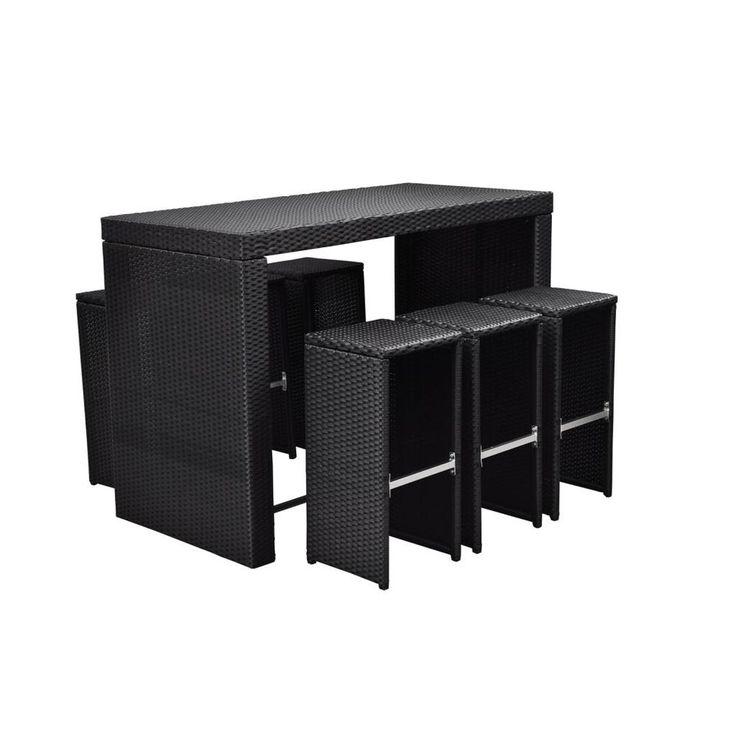 Black Rattan Outdoor Garden Furniture 6 Seat Dining Patio Bar Set Conservatory