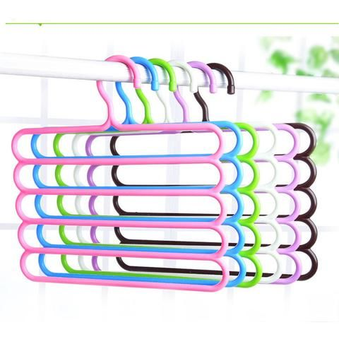 Pants Hangers Holders For Trousers Towels Clothes Apparel Hangers Five-layer Space Saving Version
