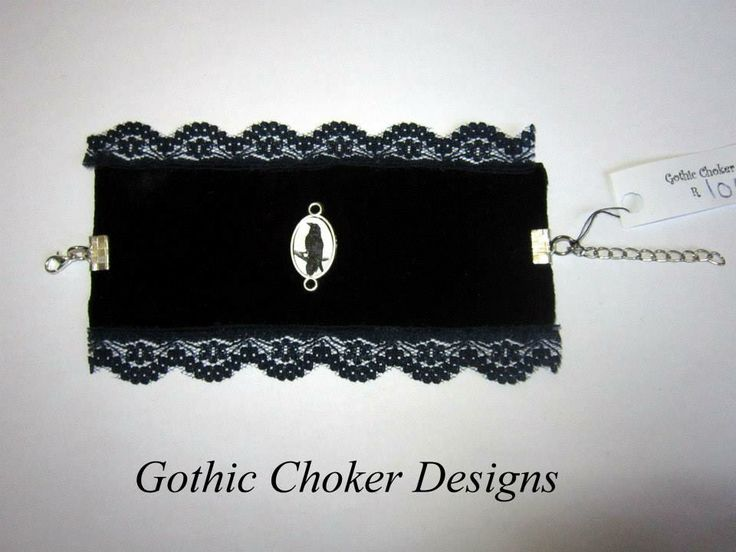 R100/ approx $10 Purchase here: https://hellopretty.co.za/gothic-choker-designs/black-and-blue-raven-bracelet