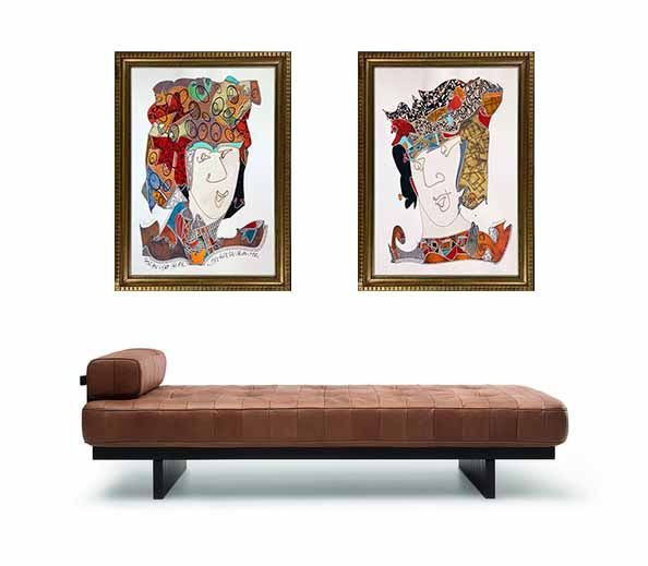 """"""" Rostros nobles """", serie notable que el artista Norero esta constantemente aumentando, 2 personajes atractivos en tranquila compañia, realizados en una técnica mixta sobre base de papel preparado de 400 gramos francés. 70 x 90 cm sin marco. aprox."""