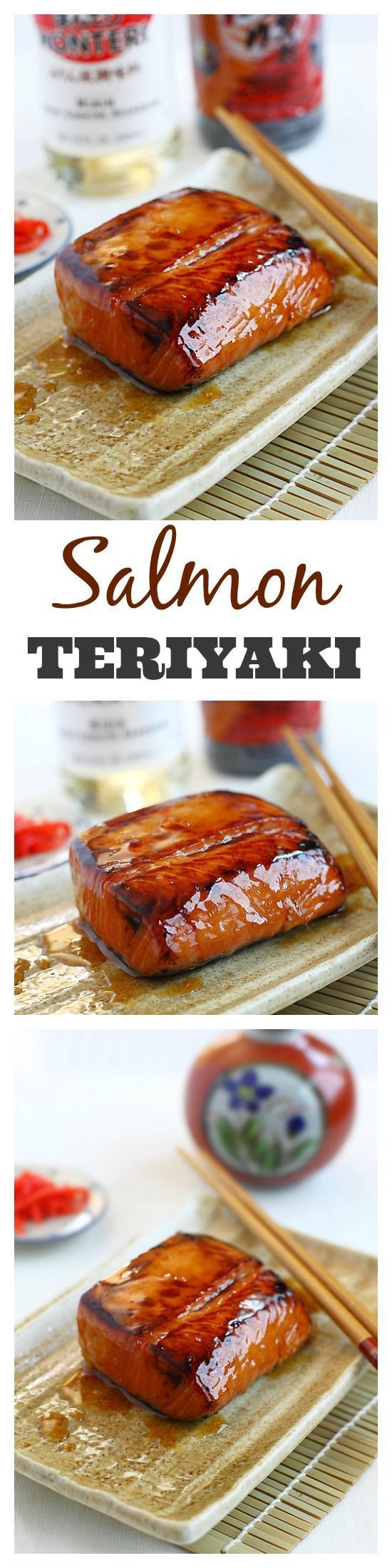 Salmon Teriyaki – moist and juicy pan-seared salmon with teriyaki sauce. This easy salmon teriyaki recipe takes only 4 ingredients!