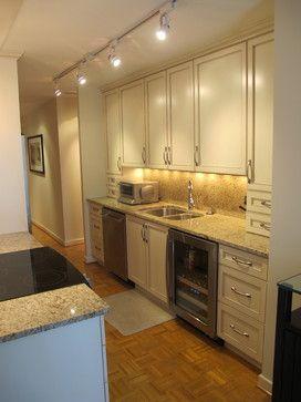 9 best kitchen lighting images on pinterest kitchen for Small straight line kitchen designs