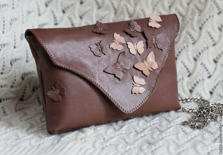 Купить Клатч кожаный - Хоровод бабочек - авторская работа, дизайнерская сумка, необычная сумка