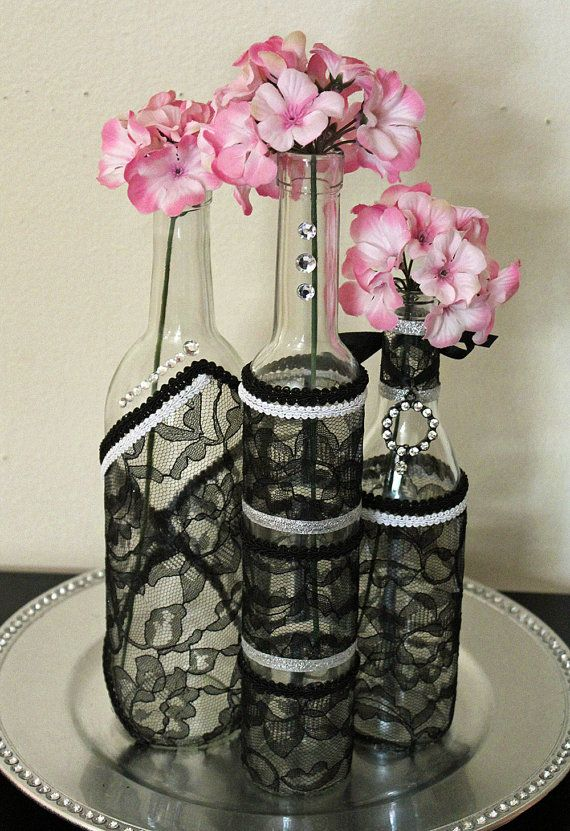 Set3 decorated wine bottle centerpiece black lace by for Wine bottles decorated with flowers