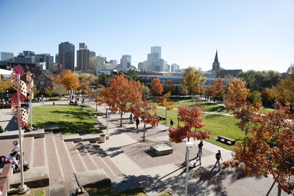 University of Colorado Denver beautiful campus grounds in downtown Denver