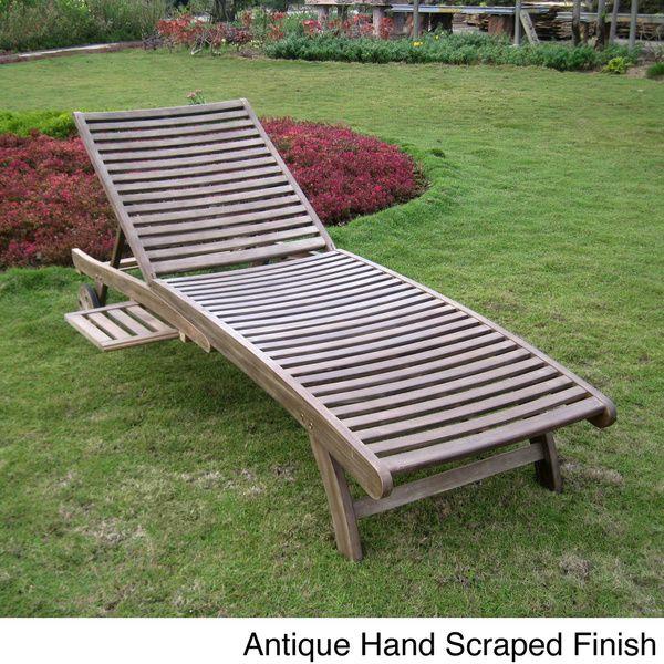 International caravan acacia hardwood multi position for Acacia wood chaise lounge