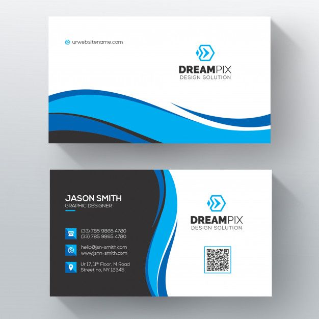 Download Blue Wavy Psd Business Card Template For Free Modelos