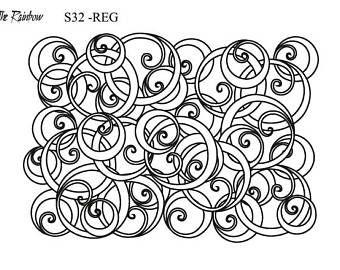 S32 - Swirls, THERAINBOW silkscreen for polymer clay REG Size, Silk Screen, Polymer Clay Tools, Ecran en soie, fimo, KATO,  printing