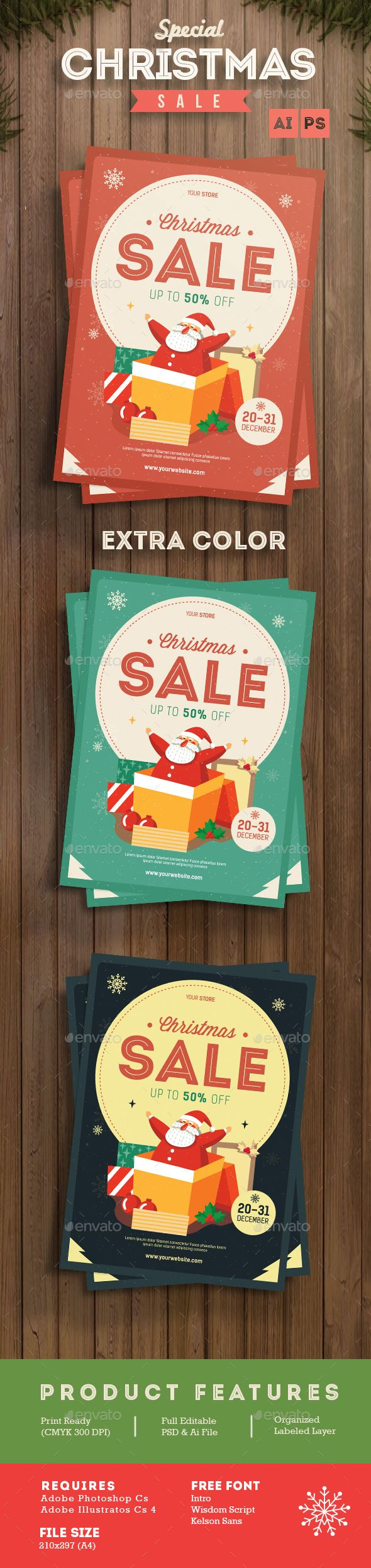 Christmas Sale Flyer Template PSD #design #xmas Download: http://graphicriver.net/item/christmas-sale-flyer/13456947?ref=ksioks