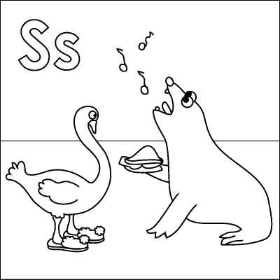 Letter S Coloring Page Seal Singing Sandwich Swan Slippers