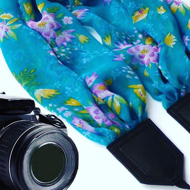 Flowers scarf camera strap. Green Camera Strap. Camera accessories. Camera strap for Canon, Nikon, Fuji & other cameras. Graet gift. $41
