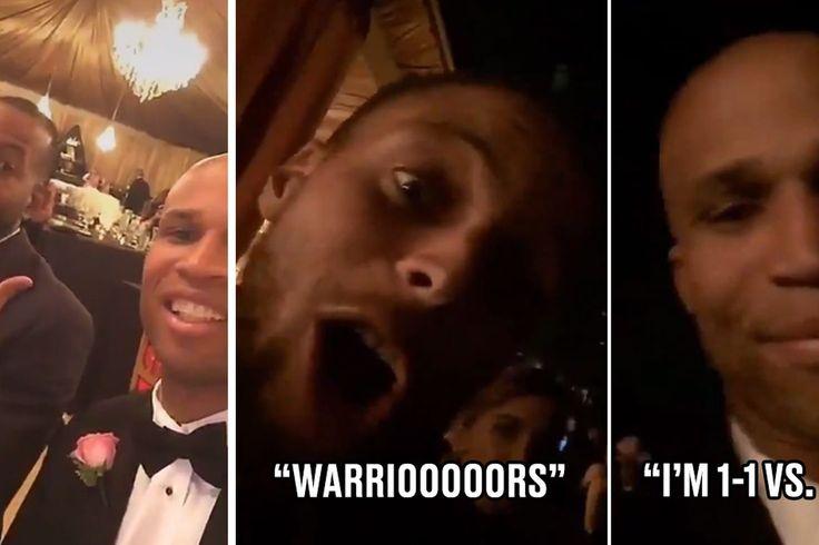 Steph Curry, Andre Iguodala y Richard Jefferson hablaba anillos de campeonato de Kent Bazemore de la boda