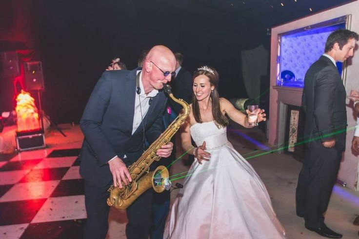 Annie Cowan diggin' Steve's sax playing! Live music for weddings in the North East & North Yorkshire by Jump The Q. www.jumptheq.info
