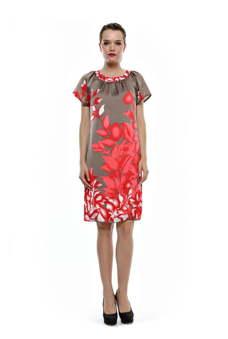 Rochie grej cu imprimeu floral corai RO59 de la Ama Fashion