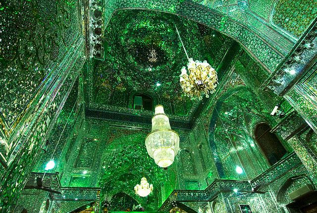 """Shah Cheragh mosque in Shiraz, Iran. The name Shah Cheragh translates into """"King of the Light"""" or """"Shrine of the lord of the light""""."""