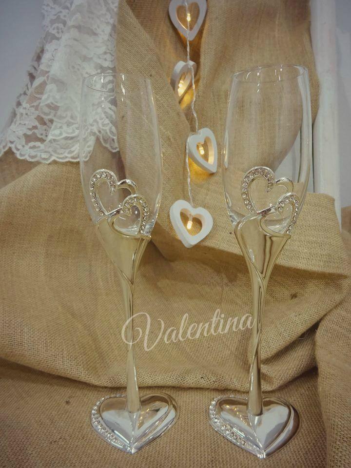 Ποτήρια Σαμπάνιας με μεταλλικές καρδιές!