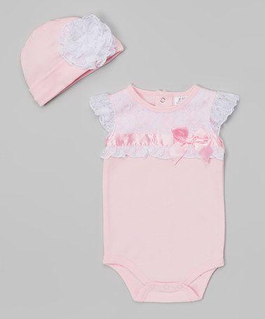Look what I found on #zulily! Pink Lace-Trim Bodysuit & Beanie - Infant by Baby Essentials #zulilyfinds