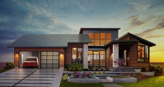The billionaire envisions solar roofs and batteries powering homes with electric cars in the garage.