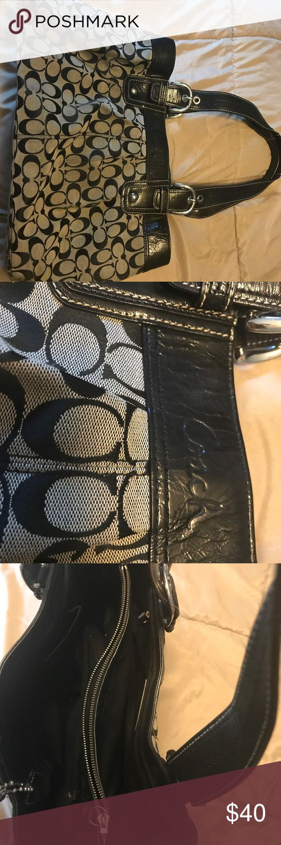 "Coach black and grey oversized handbag Coach black and grey oversized handbag - dimensions are 18"" x 10"" x 15"" - makes a great work bag or smaller diaper bag! Coach Bags Totes"