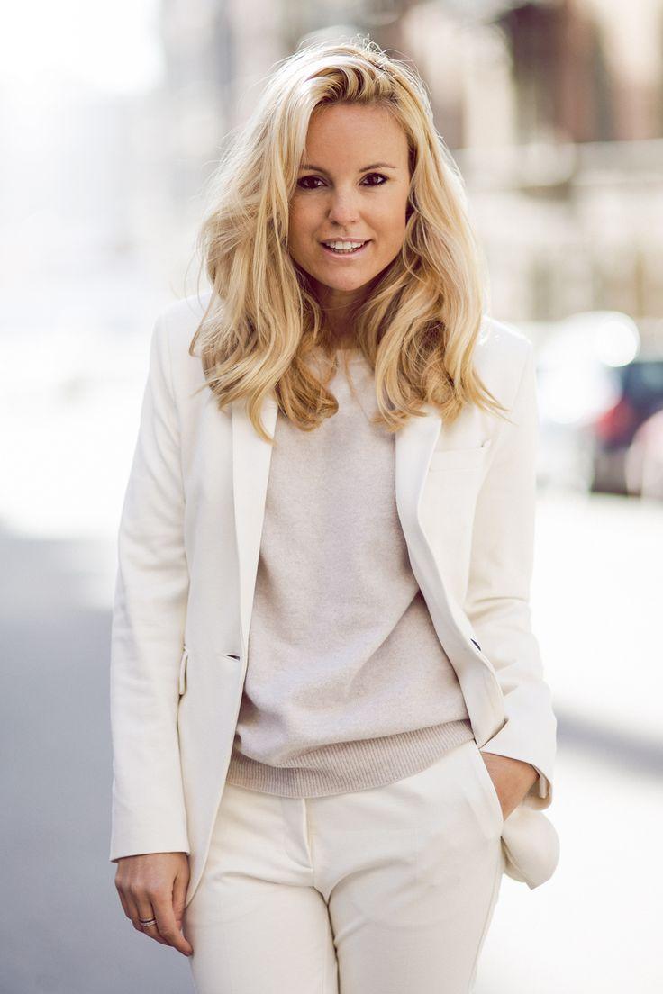 White - Sofi Fahrman wearing Dagmar Suit and Céline Skates.