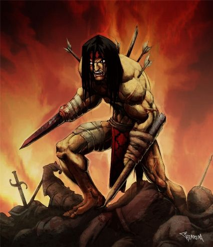 In the 1500s, Galvarino, a Mapuche warrior, raised an army to fight the Spaniards after they cut off his hands and he fought with swords tied to his stubs! Galvarino was a famous Mapuche warrior a tribe from what is now Chile.         During the Arauco War he was taken captured and taken prisoner during the Battle of Lagunillas against the governor. Another 150 mapuches were captured, as well.