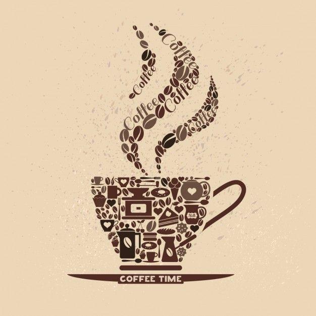 Cofee conjunto de ícones xícara de ícones pequenos Vetor grátis