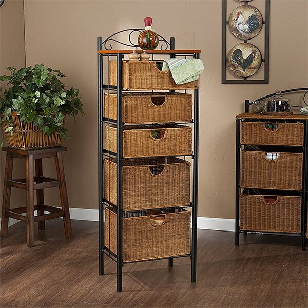 Southern Enterprises 5 Drawer Storage Unit with Wicker Baskets