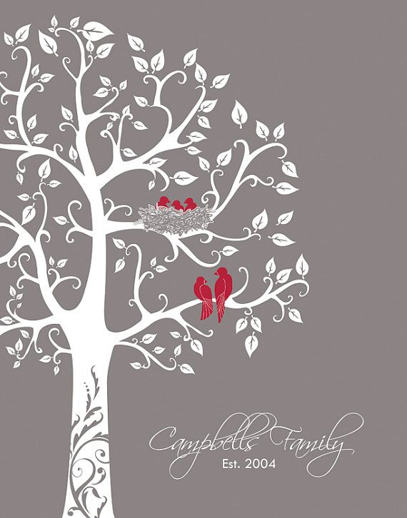 Personalized Family Tree with love birds and babies, Paper Anniversary Gift, Valentine's Day Gift for her, gift for wife 11x14  LOVE this!