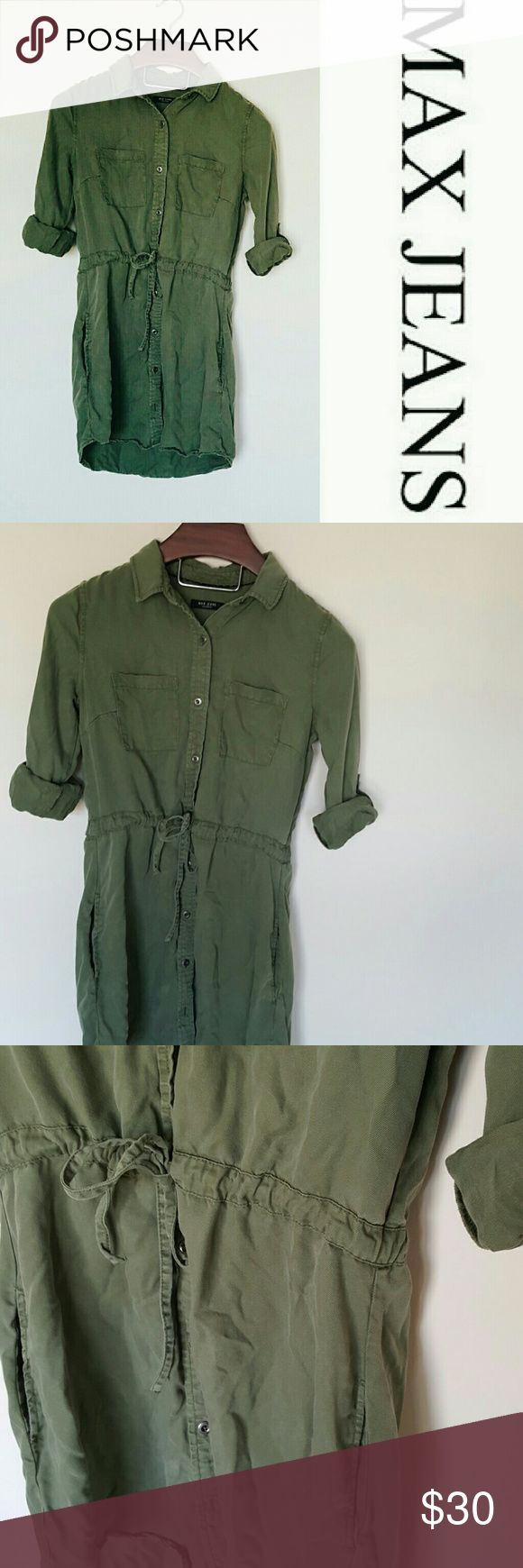 Olive green military shirt dress! Size small In excellent condition! Olive green military style shirt dress FROM max jeans. Size small. Perfect for spring and summer! Drawstring style waist. Dress is 35 inches from shoulder to hem in back. Front is 32 inches from shoulder to hem. Max jeans is sold at Nordstrom.  Bundle using the bundle feature and save! Nordstrom Dresses