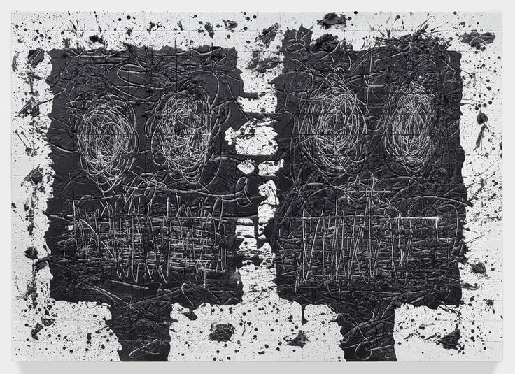 David Kordansky Gallery Untitled Anxious Men, 2015, white ceramic tile, black soap, wax, 73 x 94 1/2 x 3 inches (185.4 x 240 x 7.6 cm) Rashid Johnson