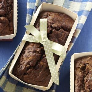 Pumpkin Chocolate Loaf Recipe -These tender chocolate loaves, with a hint of pumpkin and spice, have been a favorite of mine for years. Slice them up for snack time or dessert. —Kathy Gardner, Rockville, Maryland