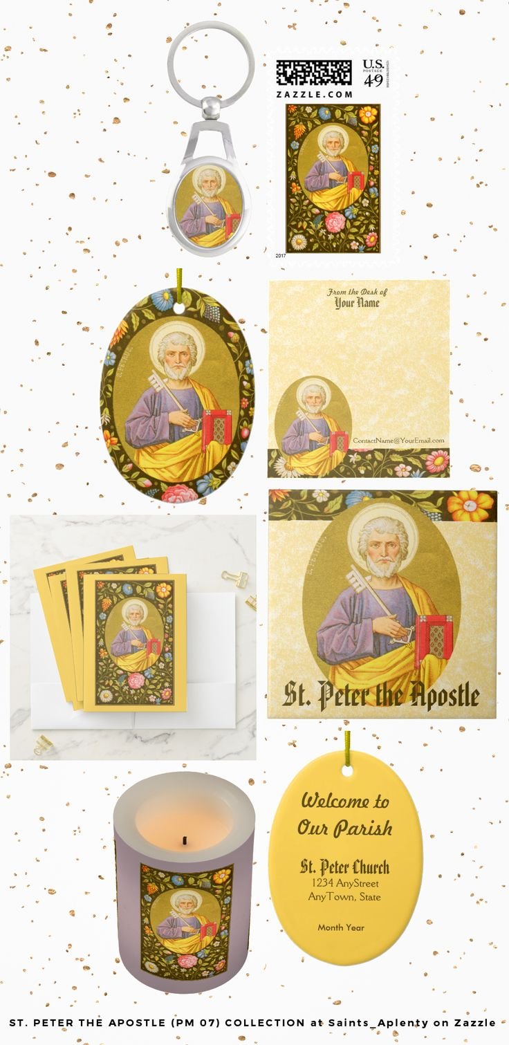 Just 8 of nearly 100 items at Saints_Aplenty on Zazzle featuring St. Peter the Apostle, the first Pope  (Feast:  June 29th).   See our slideshow presentation for our complete product line.