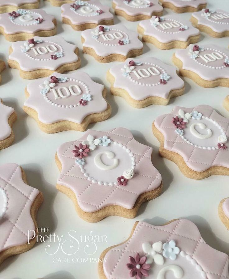 Vintage style initial cookies in pinks and white with sugar blossoms and quilted detail for 100th birthday
