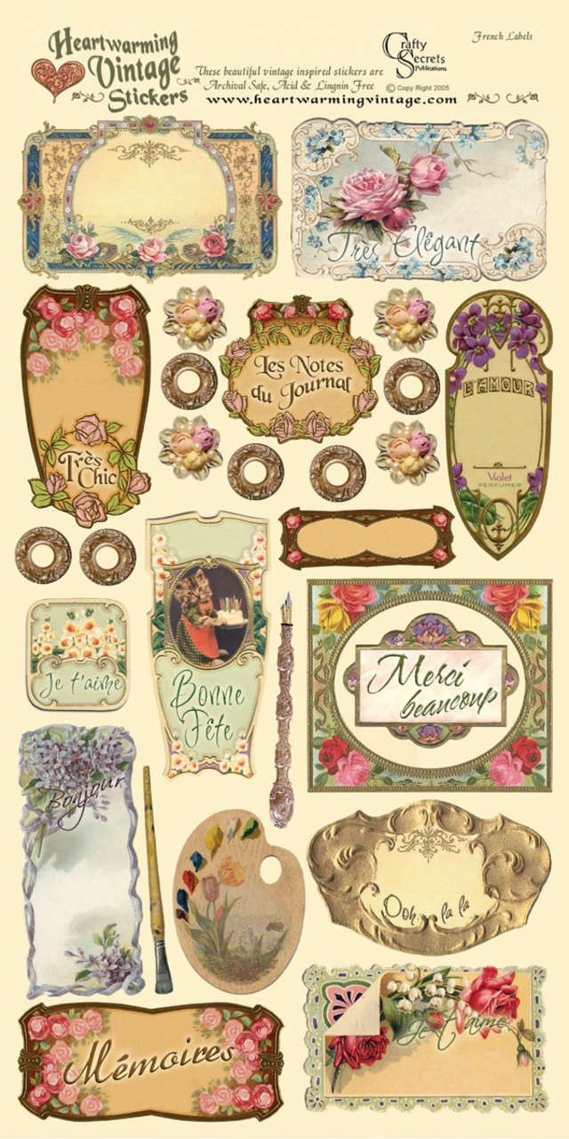 """Image detail for -French Labels Heartwarming Vintage Cardstock Stickers 6""""X12""""Sheet ..."""