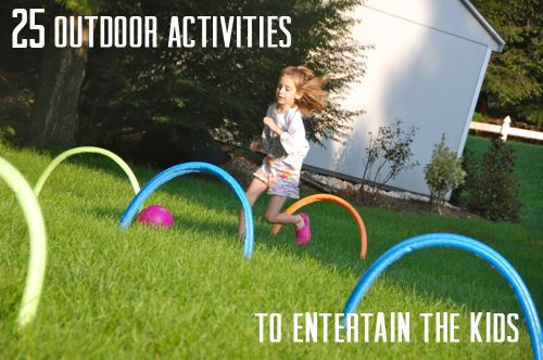 25 Outdoor Activities to Entertain the Kids this Summer --- LOVE LOVE LOVE these ideas!! Great for science lessons, PE lessons, and art lessons :)