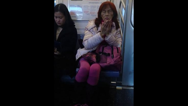 Crazy weird lady on nyc subway - funny video