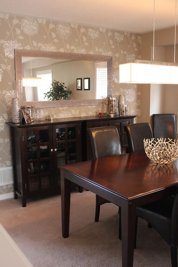 wallpaper accent wall dining room | Wallpaper accent wall | Dinning room buffet, Dining room ...