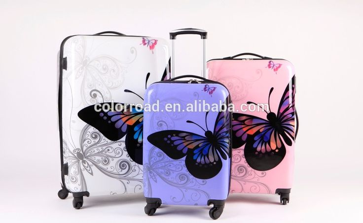 "2017 Butterfly Design 20"", 24"", 28"" Travel Trolley Luggage with Cheap Price High Quality Suitcase for Holiday"